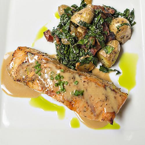 Salmon dinner entree Lucas Park Grille